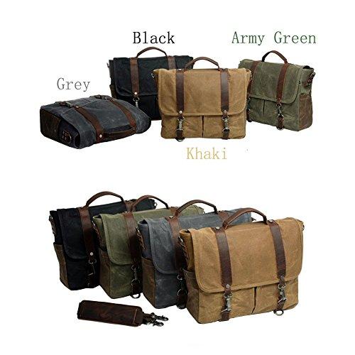 Canvas 14 For Messenger Grey Men Waterproof Crossbody Briefcase Bag Vrikoo Work Dark Shoulder Inch Satchel School q0UwIA5d