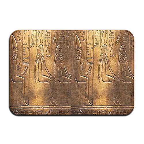 Feim-AO Egyptian Hieroglyphics Old Texts Logographic Non-Slip Machine-Washable Door Mats Home Decor Rug Entrance Mats 33.5(L) X 21.7(W) Inch
