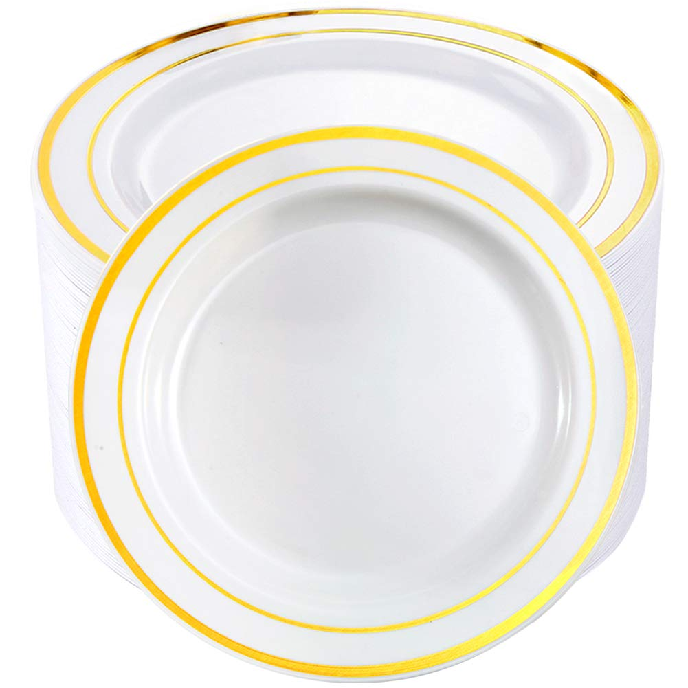 BUCLA 100Pieces Gold Plastic Plates-10.25inch Gold Rim Disposable Dinner Plates-Ideal for Weddings& Parties by BUCLA