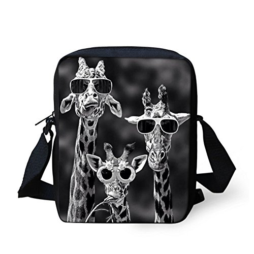 ThiKin Giraffe Small Shoulder Messenger Bag Mini Crossbody Tote Hipster Adjustable Strap Cell Phone Pouch Purse Wallet