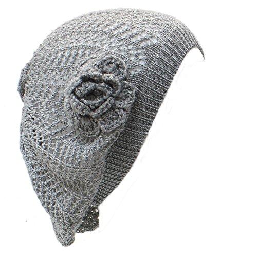 AN- Womens Fashion Lightweight Crochet Cutout Beret Beanie Hat (Gray Net)