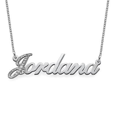 Amazon com: Diamond 14k White Gold Personalized Classic Name