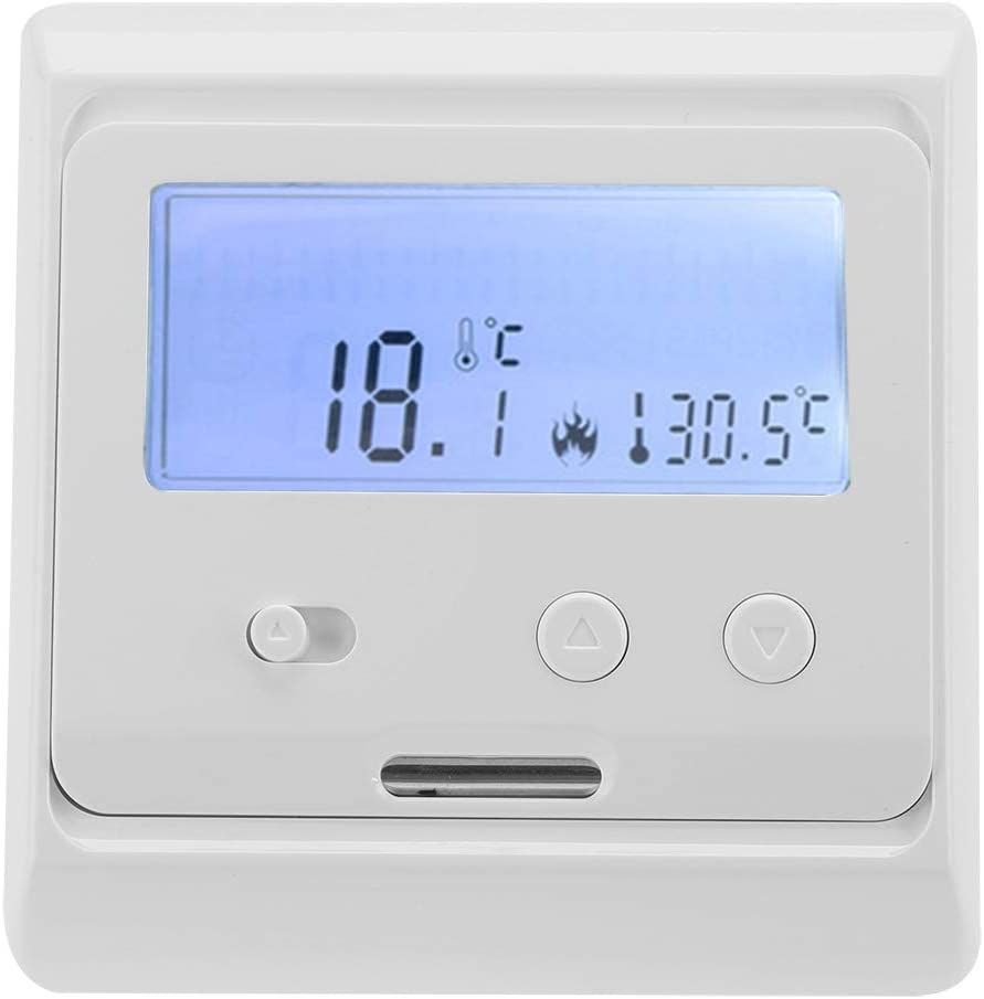 FTVOGUE LCD Digital Wei/ß Hintergrundbeleuchtung Fu/ßbodenheizung Thermostat Nicht programmierbare Temperaturregler