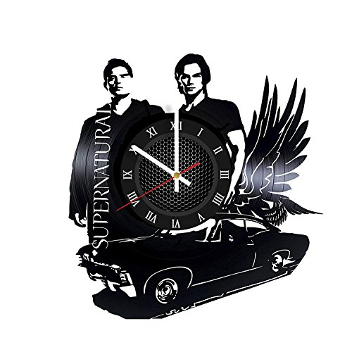 (SUPERNATURAL Vinyl Record Wall Clock - Unique Teen Bedroom Wall Decor - Dean Winchester and Sam Winchester - Best Gifts for Girls)
