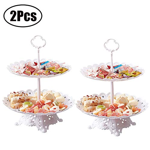 Set of 2 Pcs 2-Tier Cake Stand with Base Fruit Plate Cupcake Plastic Round White for Cakes Desserts Fruits Candy Buffet Stand for Wedding & Home & Birthday Party Serving Platter