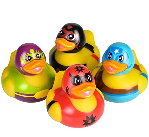 4 Count Masked Wrestler Style Rubber Ducks New