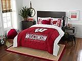 Wisconsin Badgers - 3 Piece FULL / QUEEN SIZE Printed Comforter & Shams - Entire Set Includes: 1 Full / Queen Comforter (86'' x 86'') & 2 Pillow Shams - NCAA College Bedding Bedroom Accessories