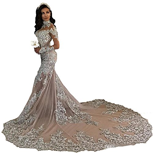 Prinzessin Hochzeitskleid Meerjungfrau Langarm Brautkleid Damen Elfenbein Changjie SpitzeApplique 2018 gYTqZz