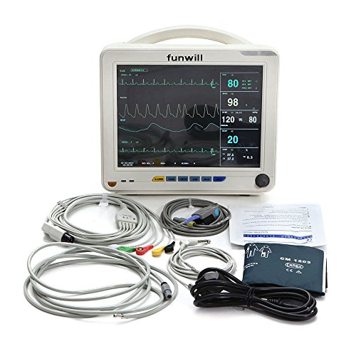 Funwill 12-inch 6-Parameter Patient Monitor,White (Shipping from USA)