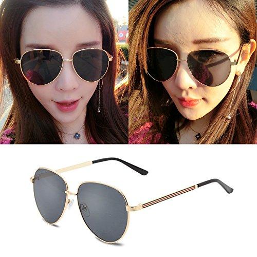 élégant nouveau personnalisé des lunettes de soleil mesdames les lunettes de soleil les lunettes de marée star hommes visage rond korean les yeuxla boîte en or (sac) grey film To7onAh9xR