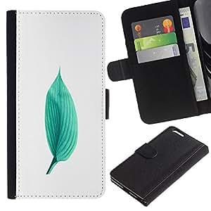 KingStore / Leather Etui en cuir / Apple Iphone 6 PLUS 5.5 / Verde minimalista Hoja Naturaleza