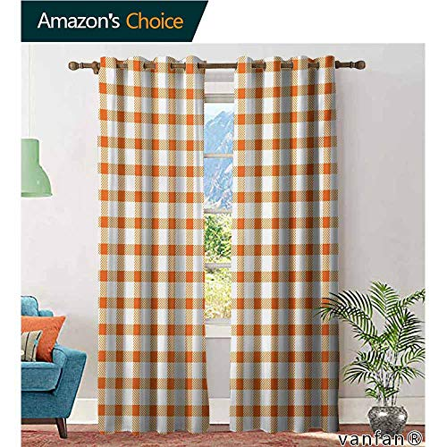 Big datastore Patio Door Sliding Door Insulated Curtains,Orange and WhiteRetro Gingham Style Checkered Squares Pattern in Warm Colors Plaid,Grommet Top Blackout Curtains,Orange and White,W120 xL108