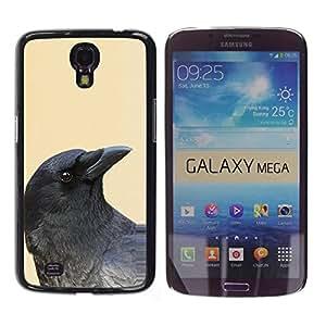 YOYOYO Smartphone Protección Defender Duro Negro Funda Imagen Diseño Carcasa Tapa Case Skin Cover Para Samsung Galaxy Mega 6.3 I9200 SGH-i527 - cuervo negro amarillo oscuro pájaro minimalista