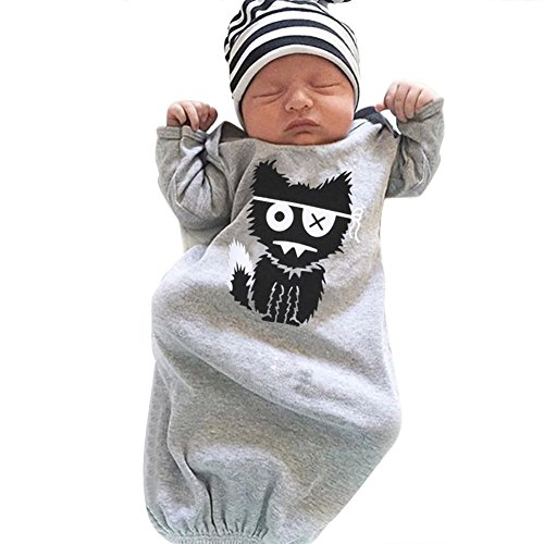 Chinatera Baby Infant Long Sleeve Gown Toddler Sleeper Gowns (For 0-3M, Modal Grey)(WITH Hat)