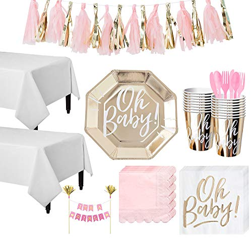 Party City Gold & Pink Oh Baby Baby Shower Tableware Kit and Supplies for 16 Guests, Includes Table Covers and More
