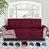 RHF Reversible Sofa Cover, Couch Covers for 3 Cushion Couch, Couch Covers for Sofa, Couch Cover, Sofa Covers for Living Room,Couch Covers for Dogs, Sofa Slipcover,Couch Protector(Sofa:Burgundy/Tan)