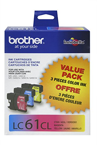Brother LC61CL 3-Pack Ink Cartridge, 325 Page-Yield, Cyan Magenta Yellow