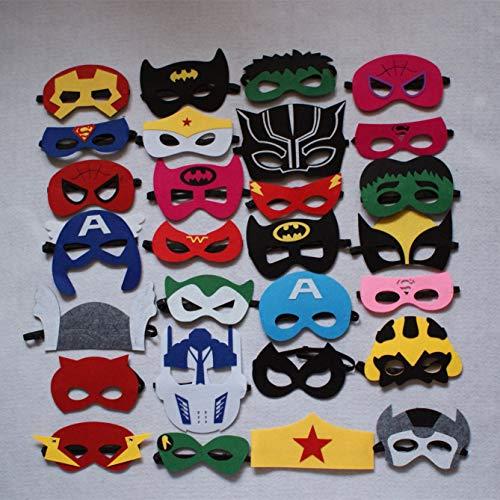 Superhero Party Masks featuring adjustable elastic clip, Long-lasting Superhero party supplies, 28 pieces-Vykkos
