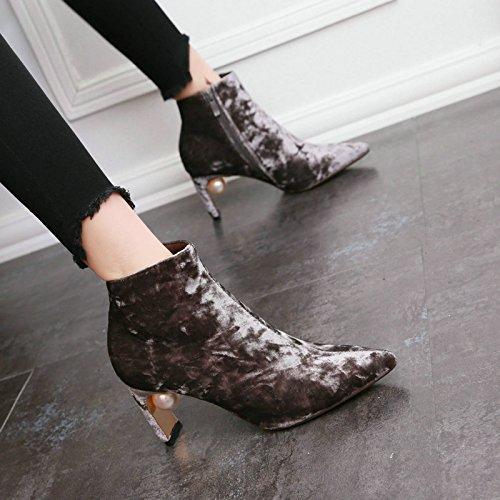 i Elegante Perla Dolce Parte Chelsea Sottile Corti Semplici Zipper Per Ed Boots Sharp Di 35 Khskx Gray Suede seven Stivali Thirty B8nIwdqq4x