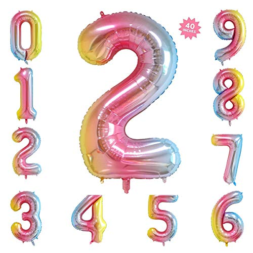 40 Inch Rainbow Jumbo Digital Number Balloons 2 Huge Giant Balloons Foil Mylar Number Balloons for Birthday Party,Wedding, Bridal Shower Engagement Photo Shoot, Anniversary