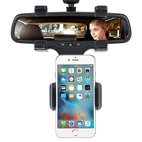 Price comparison product image INCART Car Mount, Cell Phone Holder, 360° Car Rearview Mirror Mount Truck Auto Bracket Holder Cradle for iPhone 7/6/6s plus, Samsung Galaxy S7/S7 edge, GPS / PDA / MP3 / MP4 devices (Black)