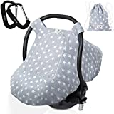 Baby Car Seat Cover for Boys and Girls by BabyDu - Soft & Breathable - Light Grey