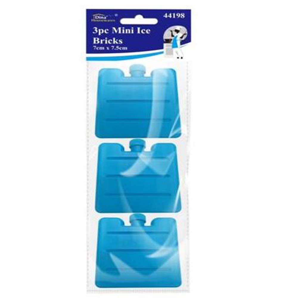 Set of 3 Blue Mini Ice Brick Pack Block Blocks Freezer Cooler Bag Box Travel Picnic