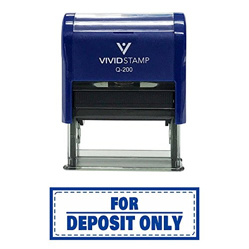 FOR DEPOSIT ONLY w/ Border Self-Inking Office Rubber Stamp (Blue) - Medium - Deposit Only Rubber Stamps