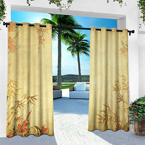 Hengshu Bamboo, Outdoor Privacy Curtain for Pergola,Bamboo Stems and Blooming Flower Antique Grunge Background Oriental Artwork, W96 x L96 Inch, Mustard Vermillion ()