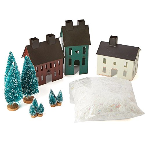 (Factory Direct Craft Tin Painted Christmas Saltbox Houses Village Kit for Home Decor and Displaying - 3 Houses)