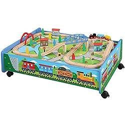 62 Piece Wooden Train Set Train Table/Trundle - BRIO Thomas & Friends Compatible
