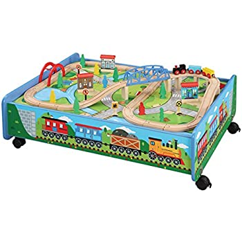Amazon.com: 62 piece Wooden Train Set with Train Table/Trundle ...