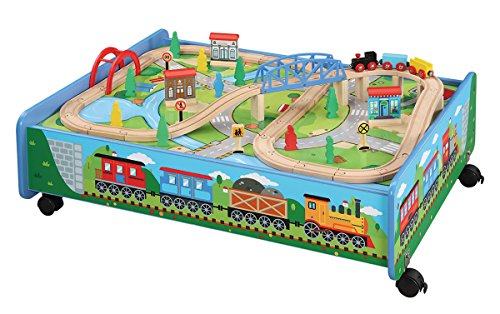 Maxim Wooden Train Set with Play Table (62-Pc. Set) Over & Under, Bridge, & Trackpiece | Fun Toy Railway for Girls, Boys | Compatible with Thomas, BRIO, Melissa & Doug