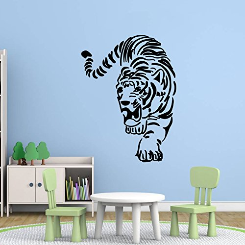 DecalMile Black Tiger Wall Stickers Wild Animal Silhouette Wall Decals Peel and Stick Removable Vinyl Wall Art for Living Room (Tiger Wall Mirror)