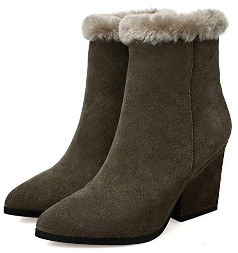 Grønn Spiss Høye Boots Glidelås Hæler Kvinners Side Hær I Ankel Imitasjon Chunky Av Semsket Casual Easemax Tå nqaTRwIRx