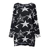 Bafaretk Autumn Womens Long Sleeve Blouse Star Print T-Shirt Casual Style O Neck Tops (XL, Black)