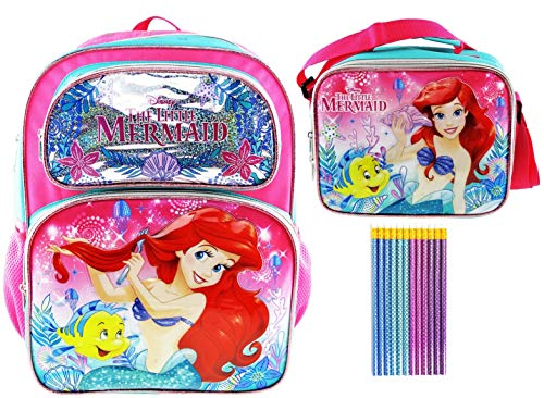 Princess Ariel Deluxe 3D Backpack and Lunch Tote PLUS 12 Pack of Mermaid Pencils -
