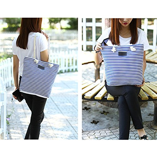 Ladies Tote Blue Canvas Bag Zipper Stripe Millya Handbags Summer Women Shoulder Beach 5xpBq