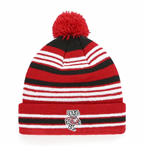 NCAA Wisconsin Badgers Kid's Rickshaw OTS Cuff Knit Cap with Pom, Red, Kid's