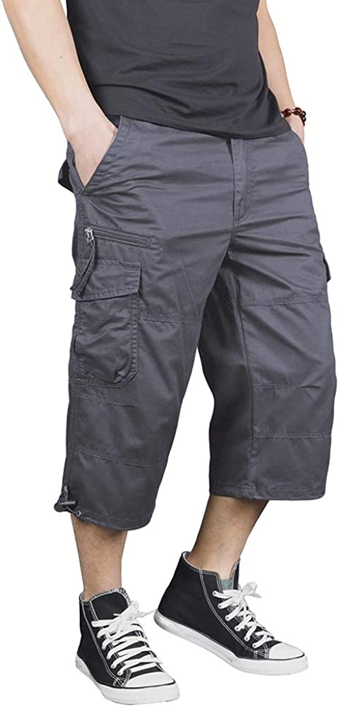 "FEDTOSING 3/4 Casual Cargo Shorts for Men Loose Fit Twill 17"" Inseam Capri Long Shorts with Multi-Pockets"