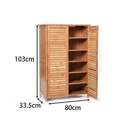 Beau GJFLife Bamboo Shoe Cabinet 2 Door, Large Versatile Shoe Storage Cupboard  Unit With Drawer Living