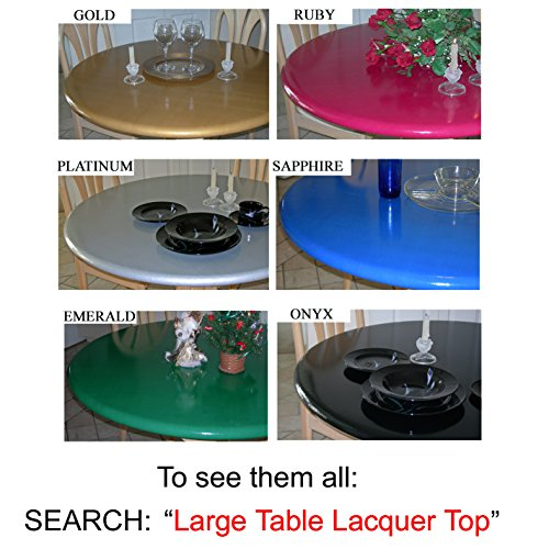Lacquer Tops Large Round Fitted Table Cover for Special Occasions and Holidays doubles as protective table pad under linens for large round tables 42'' to 62'' diameter - High Gloss - Onyx Black by Lacquer Tops (Image #2)