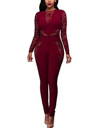 0581339af563 Amazon.com  Engood Women s Sexy Perspective Crew Neck Long Sleeve Lace Club  Bodycon One Piece Jumpsuit Romper Tight Overalls Leotard  Clothing
