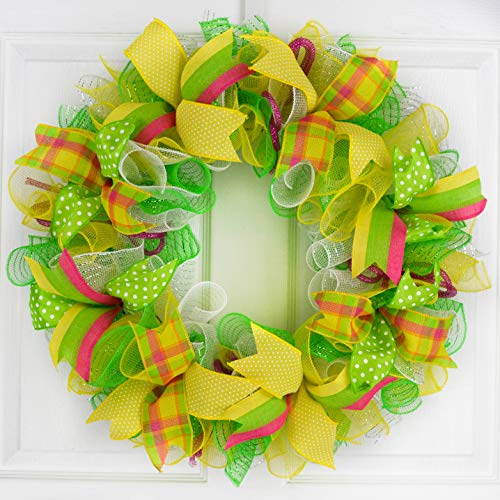 Summer Spring Welcome Mesh Door Wreath | Mother's Day Gift | Lime Green Yellow White