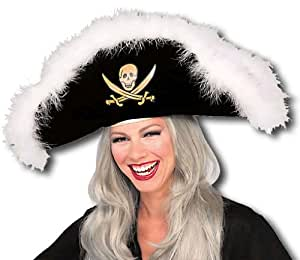 sombrero del pirata con plumas de marabú