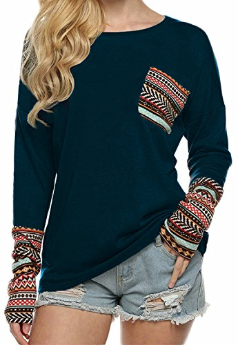 POGTMM Ladies Long Sleeve Tee Shirts Long Sleeve Blouse Tops(XS, Navy Blue)