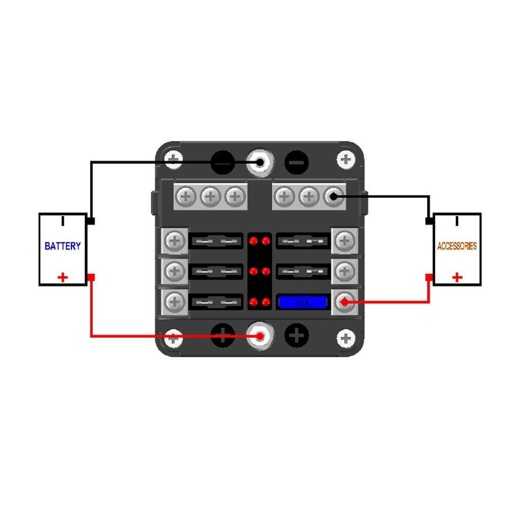JOYHO SUV 12 Way scatola portafusibili W//Negative per auto camion 70 etichette adesive Portafusibili ATC//ATO con spia LED e coperchio protettivo etc barca