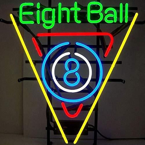 Ball Billiards Neon Sign - FINEON Eight Ball 8 Billiards Real Glass Tube 17(w) insx13(h) ins Neon Sign Light for Beer Bar Pub Garage Room Bedroom Windows Gift Billboard