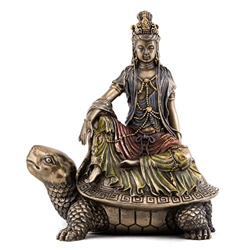 Top Collection Water and Moon Quan Yin's Journey on Sea Turtle Statue- Kwan Yin Goddess of Compassion and Mercy Sculpture in Cold Cast Bronze- 6-Inch Figurine