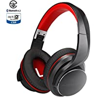 AUSDOM Wireless Headphones/Headset, Bluetooth Headphones Over Ear Foldable with Mic, Apt-X Low Latency, Bluetooth 4.2 Stereo Wired Mode, Fast Audio/LED Codec Indicator/Noise Isolating for TV/PC Gaming